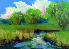 original 5x7 oil painting modern impressionist by KRBStudioDesigns