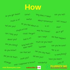 Phrases / Questions - How ...? Make your own sentence! Practice!