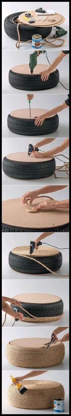 """Got a spare tire? Wrap it with rope for a cool nautical floor """"cushion"""". How to make a DIY Tire Ottoman. As a matter of fact I DO have a spare tire. Don't want a tire in the house! Fun Crafts, Diy And Crafts, Arts And Crafts, Diy Projects To Try, Craft Projects, Tire Ottoman, Upholstered Ottoman, Old Tires, Recycled Tires"""