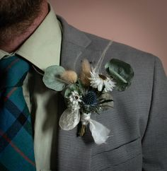 Thistle, eucalyptus and bunnytails with dried flowers in a Scottish buttonhole. Mountain Daisy are based in Scotland but post worldwide. Scottish Flowers, Button Holes Wedding, Second Weddings, Flower Farm, Groom Style, Buttonholes, Dried Flowers, Scotland, Daisy
