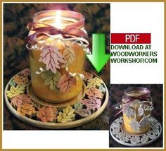 This autumn leaves candle tray is not only beautiful but functional too, saving your tabletop from the heat of candles. The candle tray is made of a single piece of wood and by simply tilting the table of your scroll saw a few degrees, the center of the tray will drop down and lock into place. Included with this pattern are leaf charms which can be used for added decoration to your candles or as fridge magnets, package ties, or ornaments.
