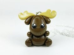 Kawaii Brown Moose Charm Necklace Polymer Clay