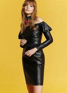 Black leather dress with choker