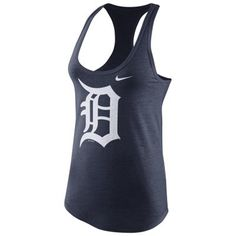 Nike Detroit Tigers Women's Navy Blue Logo Tri-Blend Tank Top