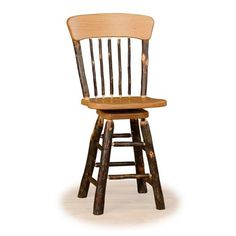 Bring country charm to your kitchen or bar area with this panel back swivel stool with solid wood seat. Bring the natural beauty of solid hickory logs to your kitchen or bar area. The Solid wood seat and back Panel is available in Hickory or Oak. Old West Decor, Oak Logs, Cool Bar Stools, Swivel Counter Stools, Chairs For Small Spaces, Log Furniture, Furniture Ideas, Metal Chairs, Log Chairs
