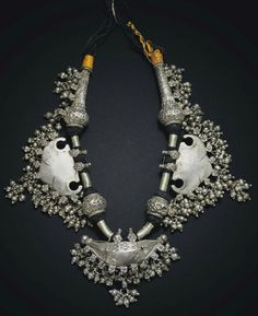 India | Silver amulet necklace from Bikaner, Rajasthan | 20th century