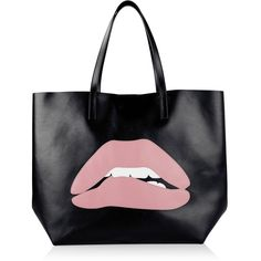 Redvalentino Lips Large Shopper Bag found on Polyvore featuring bags, handbags, tote bags, black, leather shopping bag, real leather tote, shopping tote bags, top handle leather handbags and genuine leather tote