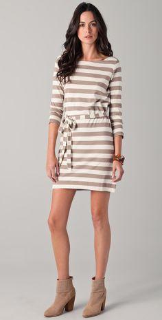 Yana Dress, white-beige stripe