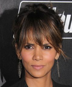 Halle Berry Casual Straight Updo. Try on this hairstyle! http://www.thehairstyler.com/hairstyles/casual/long/straight/Halle-Berry-easy-casual-upstyle