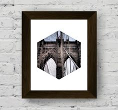 geometric print, hexagon print, brooklyn bridge print, printable art, geometric…