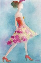 Fashion Art - Woman in a Pink Flowered Skirt Fashion Illustration Art Print by Beverly Brown Prints