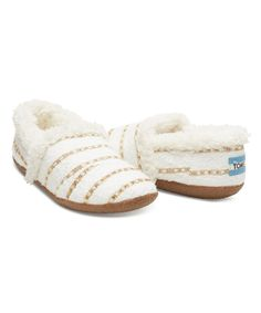 Another great find on #zulily! White & Gold Boucle House Slipper - Women by TOMS #zulilyfinds