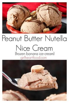 This Peanut Butter Nutella Banana Ice Cream is made with only four ingredients and couldn't be simpler! Mix them up in a processor, freeze and enjoy! This ice cream with bananas is a delicious alternative to ice cream - a delicious frozen dessert for summer! #peanutbutternutella #nicecream #icecream #frozenbananaicecream #dessert #summerrecipe #frozendessert #nutellarecipe