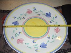 """CALECA 14"""" PLATTER STAMPED MARIA- PINK,BLUE FLOWERS MADE IN ITALY HAND PAINTED"""
