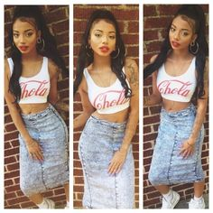 Denim Skirt. Sneakers Outfit. Hip Hop Fashion. 90s Style. Urban Fashion. Swag. Urban Outfit