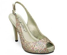 """Multi Glitter Coloriffics Gala Bridal Shoes $53.99 """"With a glittery finish and a bold 3.25 platform heel, you're ready to party! You choose silver or a multicolored glitter with a golden heel. The slingback style has a buckle and a bit of elastic for a comfortable fit all night long. Available in a wide selection of sizes. http://www.bellissimabridalshoes.com/Multi-Glitter-Coloriffics-Gala-Bridal-Shoes-Prodview.html"""
