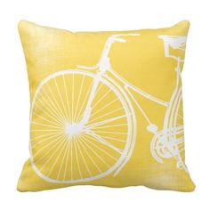 New Baby Boy Modern Bicycle Yellow and White with Linen Texture Pattern applied