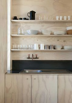 Trend Alert: 10 DIY Faucets Made from Plumbing Parts Plywood kitchen in Scarborough South-Africa beach cabin designed y Beatty Vermeiren-architects Kitchen And Bath, New Kitchen, Kitchen Dining, Kitchen Decor, Compact Kitchen, Kitchen Ideas, Kitchen Designs, Plywood Kitchen, Plywood House