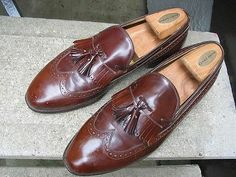 JOHNSTON & MURPHY Mens Used Brown Leather Dress Loafers 9.5 D