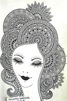 Pencil Drawing Patterns patterns by Tatyanka-Gunchak on DeviantArt - Mandala Art Lesson, Mandala Artwork, Mandala Drawing, Art Drawings Sketches Simple, Pencil Art Drawings, Contour Drawings, Charcoal Drawings, Drawing Faces, Drawing Tips