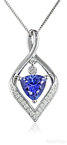 14K White Gold Tanzanite & Diamond Necklace