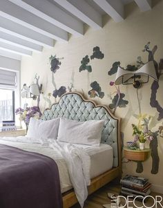 wallcovering on accent wall   West Village Apartment Tour - Suno By Erin Beatty