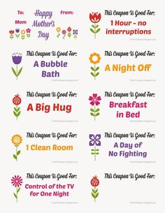 cute coupon books for Mother's day and great coupon ideas! Diy Mothers Day Gifts, Fathers Day Crafts, Mothers Day Cards, Gifts For Mom, Husband Gifts, Nana Gifts, Mother's Day Coupons, Mother's Day Printables, Books For Moms