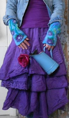 Reserved for Marion/Beautiful purple/turquoise arm warmers