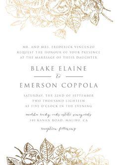 """Gilded Wildflowers"" - Elegant, Floral & Botanical Foil-pressed Wedding Invitation Petite Cards in Gold by Smudge Design."