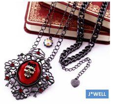 Punk Vintage Crystal Ribbon Skull Fairytale Deer Rabbit Pendant Chain Necklace