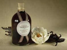 """Homemade Vanilla Favors.…""""This is a great project if you've got some time and want to give your guests something homemade. It takes about 2 months for the Vanilla to mature but it's a simple project and a gift that will last for years!"""" Recipe & labels are at the site. Looks wonderful."""