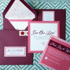 Bright Punch of Color! Burgundy & Coral Square Save-the-Date Announcements with Coordinating Floral Liner and Custom Address Labels. Guests won't miss this in their mailbox!