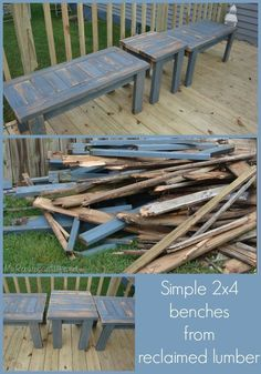 How to build simple 2x4 benches from reclaimed lumber #DiyWoodProjectsEasyHolidays