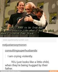 Stan Lee has spoken: RDJ is the perfect Tony Stark and Iron Man Funny Marvel Memes, Marvel Jokes, Dc Memes, Marvel Dc Comics, Stan Lee, Loki, Stucky, Fandoms, Stark Tower