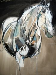 """""""Old Stallion (Sadlers Wells)"""" by Jo Taylor. Mixed media on paper. A great sombre quality. The blockiness of the colours helps to both breakup and define the horse's large figure. #art #painting #drawing #portrait #modern"""