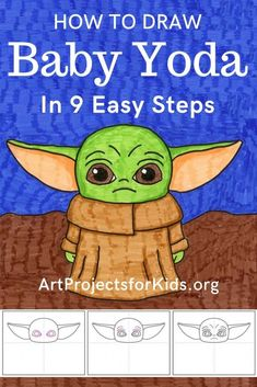 Draw Baby Yoda - Art Projects for Kids - Draw Baby Yoda Learn how to draw a Baby Yoda with this fun and easy art project for kids. Simple step by step tutorial available. Easy Flower Drawings, Easy Drawings For Kids, Drawing Ideas Kids, Best Drawing For Kids, Drawing Classes For Kids, Learning To Draw For Kids, Easy Art For Kids, Drawing Tutorials For Kids, Art Tutorials