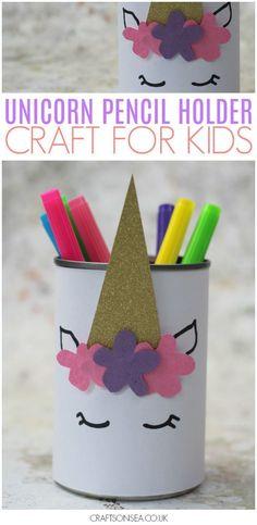 DIY Unicorn Pencil Holder - Kids event - unicorn crafts for kids DIY pencil holder easy - Easy Arts And Crafts, Easy Diy Crafts, Crafts For Teens, Diy For Kids, Fun Crafts, Decor Crafts, Diy Crafts For Kids Easy, Children Crafts, Summer Crafts