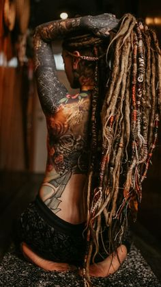 Dread Hairstyles, Cool Hairstyles, Dreadlocks Girl, Red Dreads, Beautiful Dreadlocks, Dark Tattoo, Piercings, Inked Girls, Tattoed Girls
