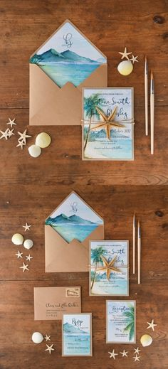 Watercolor beach wedding stationery