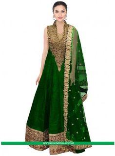 Buy Green Colour Designer Anarkali Suit with Patch Border Work Online at begumriwaaz.com