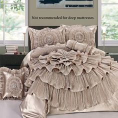 Ruffled Romance Champagne Rosette Comforter Bed Set - home decor / bedding