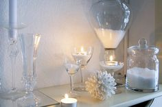 White winter decoration. I especially love the apothecary style vases.