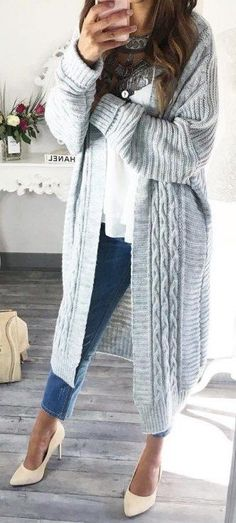 #fall #outfits / gray oversized knit cardigan