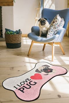Covor pentru bucatarie I Love Pug DJT - 60x100 cm New Baby Gifts, Gifts For Kids, Animal Rug, Quality Carpets, Nursery Rugs, Pet Mat, Kids Bedroom, Vivid Colors, Pugs