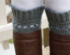 Pewter Grey Crochet Boot Cuff. Boot Topper. Woman's Boot Cuff. Fashion Accessory. Woman's Boot Topper. Boot Socks.