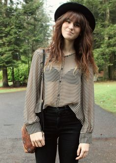 Nice billowy sleeves and big cuffs, love the stripes and sheerness too :)