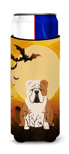 Halloween English Bulldog Fawn White Michelob Ultra Hugger for slim cans BB4391MUK