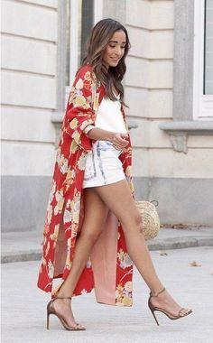 60d85c87 NWT ZARA Red Coral Printed Kimono with Button Midi Dress Size S-M Ref.3067/ 200