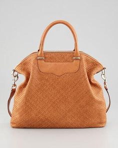 Rebecca Minkoff Bonnie Box Woven Leather Satchel Bag 1d053423572cd