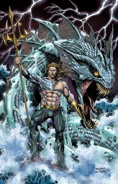 One thing I definitely want to see in the Aquaman solo movie is mythical ocean creators. Show me Aquaman controlling a Kracken or the Megladon shark! Get weird with it and don't hold back! Marvel Dc Comics, Anime Comics, Aquaman Dc Comics, Heros Comics, Dc Comics Superheroes, Comic Manga, Hq Marvel, Dc Comics Art, Dc Heroes